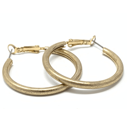Classic Worn Gold Circle Hoop Earrings For Women - Fashion Jewelry