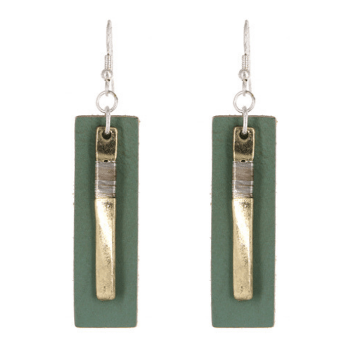 Worn Gold Green Leather Rectangle Bar Drop Earrings - Fashion Jewelry