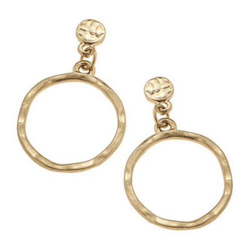 Worn Gold Hammered Circle Stud Dangle Earrings