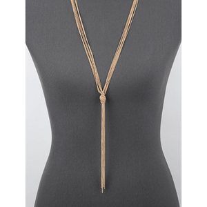 Worn Gold Knotted Multi Chain Lariat Necklace - Fashion Jewelry
