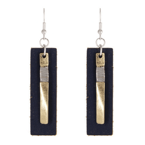 Navy Blue Leather Worn Gold Rectangle Bar Drop Earrings For Women - Fashion Jewelry