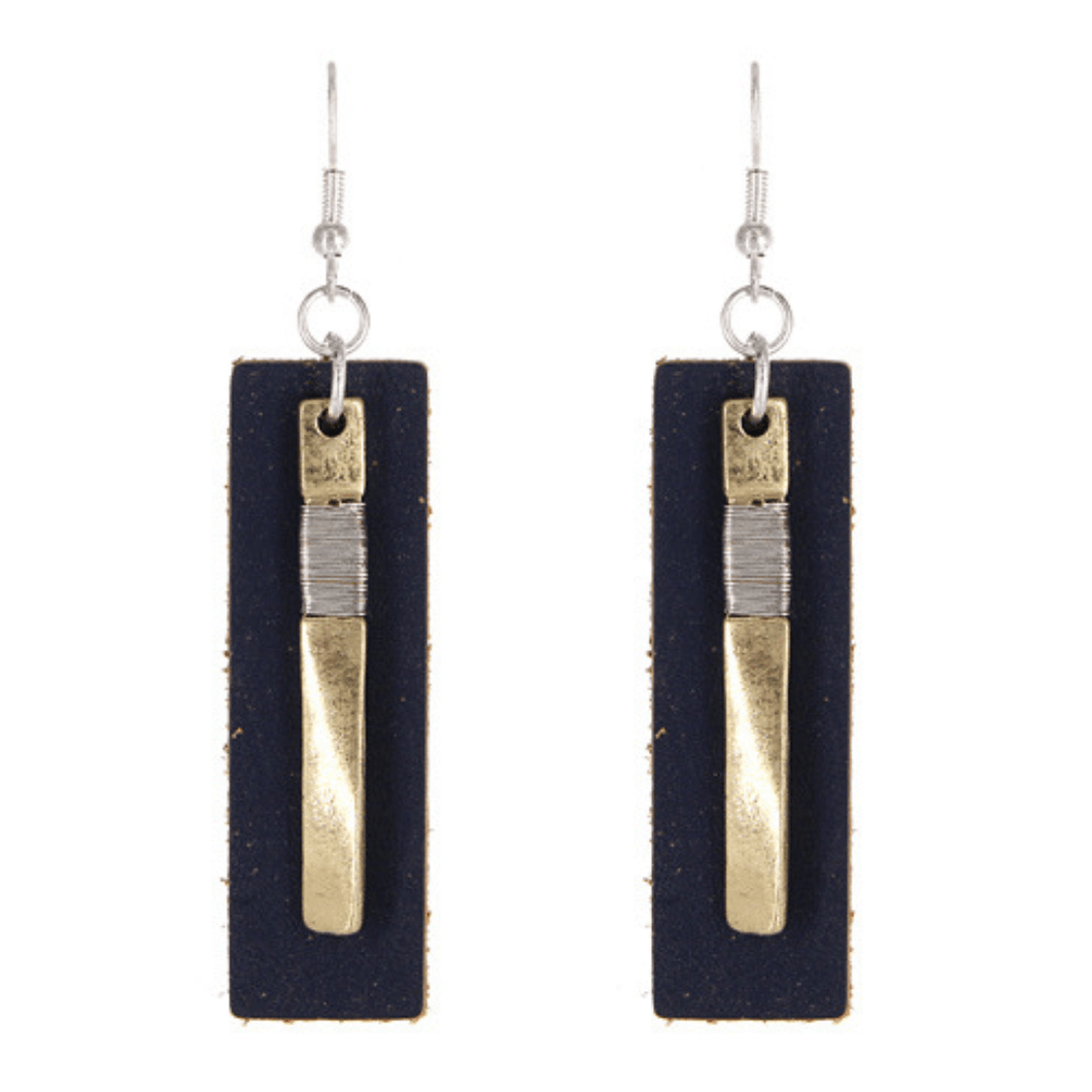 Worn Gold Navy Leather Rectangle Bar Drop Earrings - Fashion Jewelry