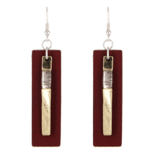 Worn Gold Red Leather Rectangle Bar Drop Earrings - Fashion Jewelry