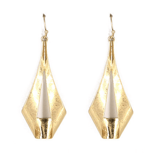 Worn Gold Geometric Modern Teardrop Earrings