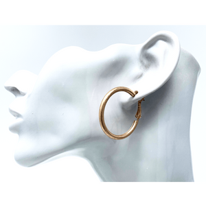 Worn Rose Gold Hoop Earrings - Costume Jewelry