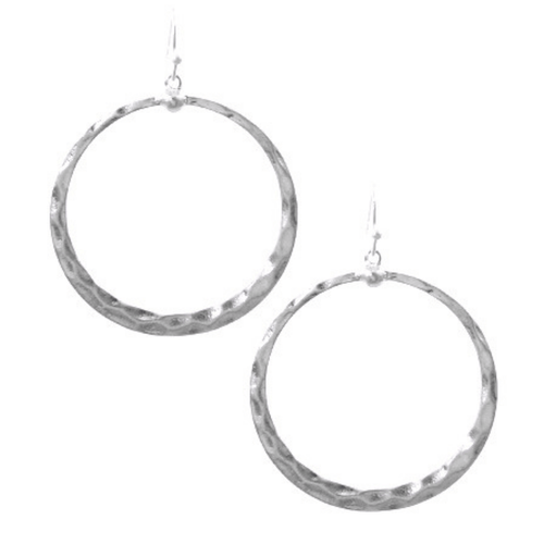Worn silver Circle Hammered Dangle Hoop Earrings - Fashion Jewelry