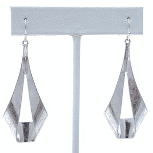 Worn Silver Modern Trendy Teardrop Dangle Earrings For Women - Costume Jewelry