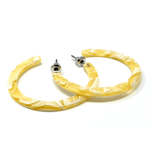 Yellow Marbled Resin Circle Hoop Earrings - Fashion Jewelry