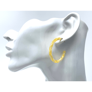 Yellow Resin Circle Hoop Women's Earrings