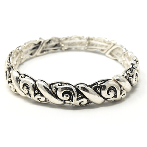 Antique Silver Filigree Metal Stretch Bracelet - Bracelets For Women