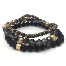 Black Beaded Bohemian Stack Stretch Bracelet - Beaded Bracelet