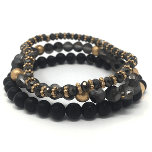 Black Beaded Bohemian Stack Stretch Bracelet - Bracelet For Women