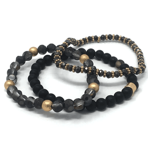 Black Beaded Bohemian Stack Stretch Bracelet - Stacked Bracelet