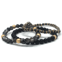 Black Beaded Bohemian Stack Stretch Bracelet - Stretch Bracelet