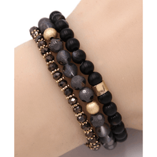 Black Beaded Bohemian Stack Stretch Bracelet - Fashion Accessories