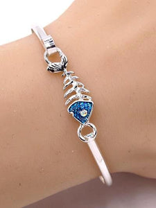 Silver & Blue Fish Bone Hook Bracelet with Rhinestone Accent - Beach Bracelet