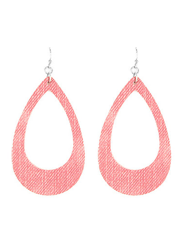 Pink Open Cut Fish Hook Teardrop Dangle Earrings
