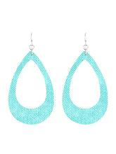 Turquoise Open Cut Fish Hook Teardrop Dangle Earrings For Women - Fashion Jewelry