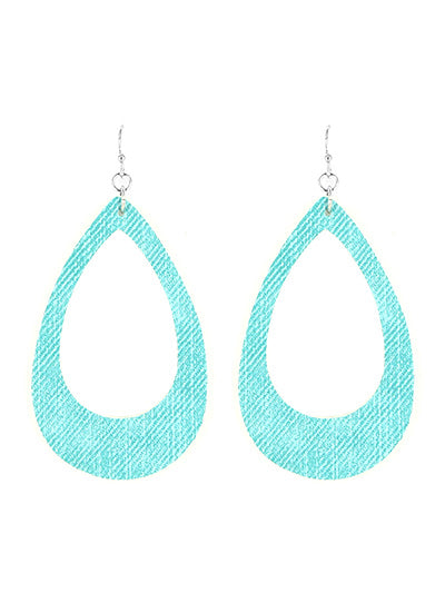 Turquoise Open Cut Fish Hook Teardrop Dangle Earrings