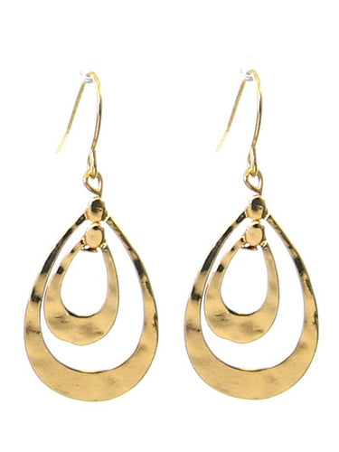 1.3 inch Gold Hammered Teardrop Layered Fish Hook Earrings