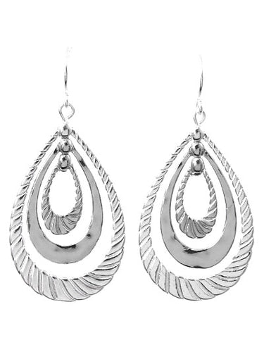 Silver Hammered Teardrop Twist Dangle Earrings - Fashion Jewelry
