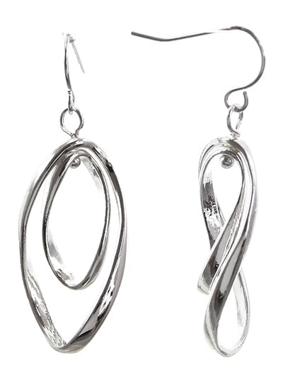 Silver Curve Twist Double Hoop Dangle Earrings - SeaSpray Jewelry