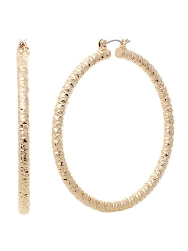2.25 inch Gold Tone Diamond-Cut Finish Aluminum Hoop Earring