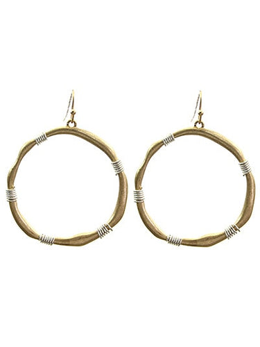 2 inch Hammered Gold Tone With Silver Wire Accent Fish Hook Earring