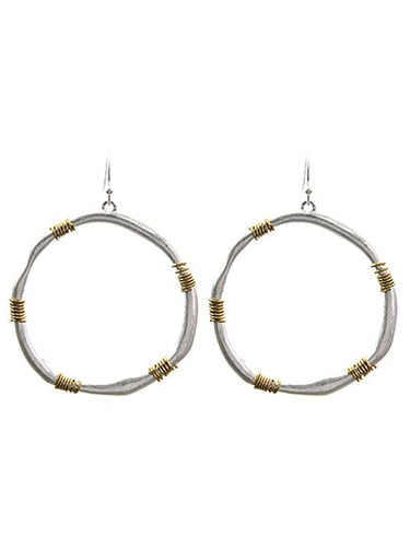 Hammered Silver Hoop With Gold Wire Accent Earrings For Women - Fashion Jewelry