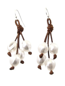 "2"" Dangle/Drop 6mm Freshwater Pearl Earrings on Brown Cord"
