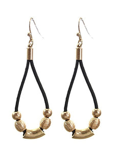 2.5 inch Brown Leather & Gold Beaded Dangling Fish Hook Earring