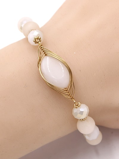 Natural Stone Stretch Bead With Gold Wire Bracelet on wrist