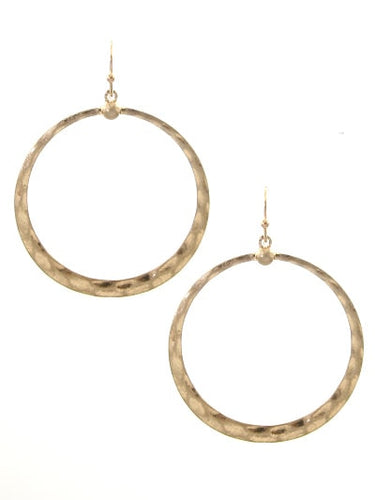 1.5 inch Worn Gold Circle Hammered Dangle Fish Hook Earring