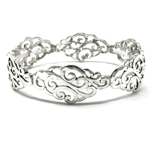 Antique Silver Filigree Stretch Bracelet - Bracelets For Women