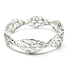 Antique Silver Filigree Stretch Bracelet - Fashion Bracelets