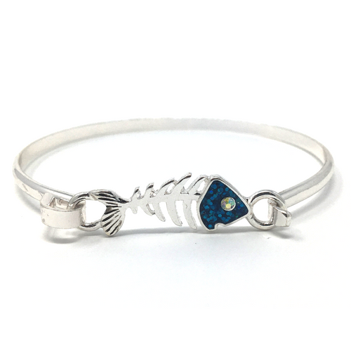 Silver & Blue Fish Bone Hook Bracelet with Rhinestone Accent - Ocean Bracelet