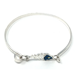 Silver & Blue Fish Bone Hook Bracelet with Rhinestone Accent - Nautical Jewelry