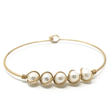 Freshwater Pearl Gold Bangle Bracelet with Hook Closure