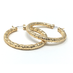1.5 Inch Gold Diamond-Cut Finish Aluminum Hoop Earrings - SeaSpray Jewelry