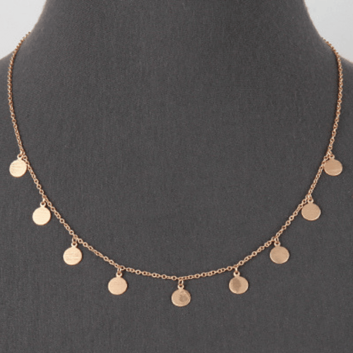 Matte Gold Multi Disc Charm Necklace - SeaSpray Jewelry