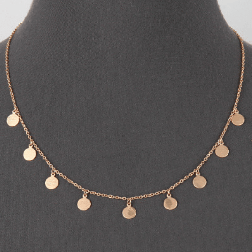 Matte Gold Multi Disc Charm Necklace - Dainty Necklace For Women