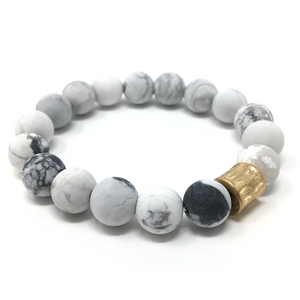 White Howlite Beaded Boho Stretch Bracelet For Women - Fashion Jewelry