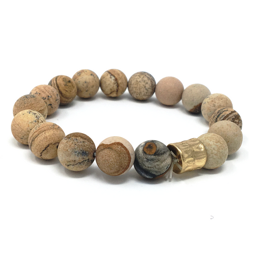 Picture Jasper Stone Beaded Bracelet - SeaSpray Jewelry