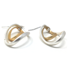 Matte Silver & Gold Curve Twist Dangle Earrings - SeaSpray Jewelry
