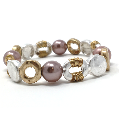 Hammered Gold & Silver Pearl Stretch Bohemian Bracelet