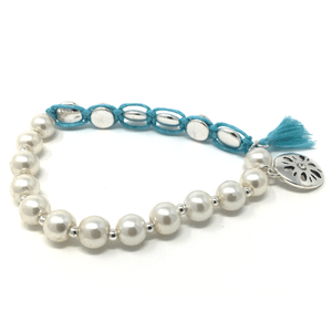 Sand Dollar Penny Wrap Pearl Stretch Bracelet - SeaSpray Jewelry