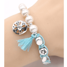 Sand Dollar Penny Wrap Pearl Stretch Bracelet - Beach Jewelry