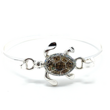 Silver Sea Turtle Bangle Bracelet - Beach Jewelry