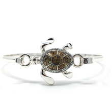 Silver Sea Turtle Bangle Bracelet - Nautical Jewelry