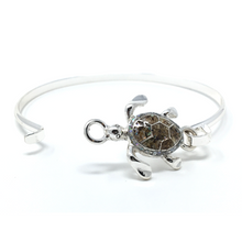 Silver Sea Turtle Bangle Bracelet - Beach Bracelet